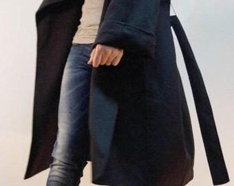 Shawl Collar Coat/Black Wool Coat/Winter High Collar Coat/Cashmere Wool Coat/Trench Coat/Symmetrical Coat/Autumn Winter Coat/F1228