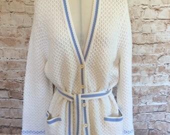 Vintage Cardigan Jacket By St. Michael Flared Sleeves Hippy Bohemian Boho Chic Festival 18-20 UK c1970s