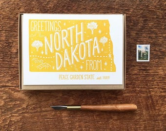North Dakota Greeting Card, Greetings from North Dakota, Boxed Set of 8, A6 Folded Note Cards, Blank Inside