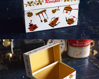 Ohio Art Recipe Card Box - Bright White with Retro Kitchen Tools, & Gold Interior - Vintage - Made in the USA
