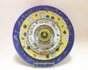 Blue Yellow Glass Garden Flower - Garden Art - Plate Flowers - Art Flowers - Glass Flowers - Dish Flowers - Lawn Decor - Home Decor