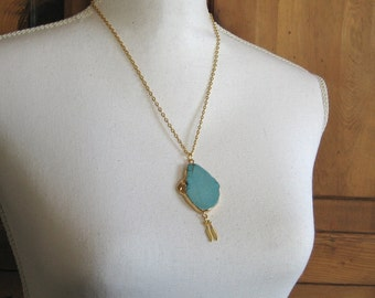 Large Turquoise Howlite Pendant Necklace with Gold Feathers, Gold Edged Pendant, Gold Boho Necklace, Bohemian Jewelry