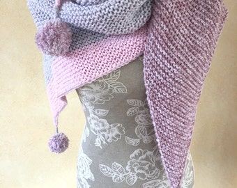 """Knitted scarf """"Pink grey"""" with Bobbles"""