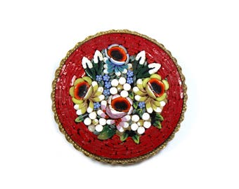 Vintage Italian micro mosaic brooch, round mosaic pin, flower design, red glass, Italian glass, Italy jewelry, floral, red pin, 1960s