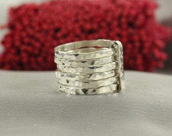 Stacking Silver Ring , 6 Silver Rings,Stacking rings ,Silver Ring Hammered Skinny Rings, silver Hammered Stacking Ring Set