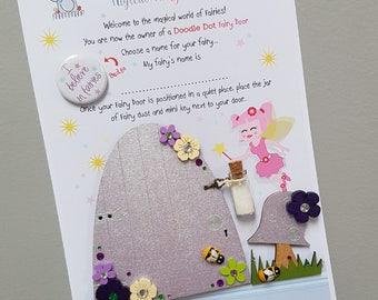 Fairy door, Lilac flower fairy door, hand painted wooden fairy door