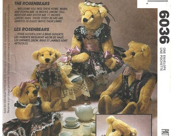 McCall's Crafts 6036 Sewing Pattern The Rosenbears Mama Papa Sister Brother Bears Uncut