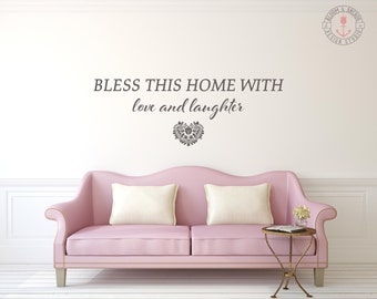 Bless this home, Decal, vinyl decal, wall decal, quote decal, wall decor, wall decal living room, wall decal bedroom,  home sign, wall sign