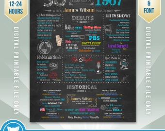 Personalized 50th Birthday Gift, 1967 Birthday Poster, 50th Birthday Chalkboard, High - Res Digital Printable File