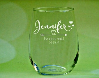 Personalized Wine Glasses, Bridesmaids Glass, Custom Name, Bridal Party Favors, Bridesmaid Gift, Stemless Wine Glasses, Bridal Shower Favors