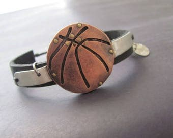Basketball Leather Bracelet, Basketball Bracelet, Basketball Ball, Basketball Ball Bracelet, Basketball Player, Basketball Ball Gift