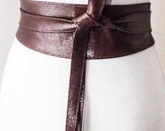 rich brown leather obi belt tulip tie waist or hip by