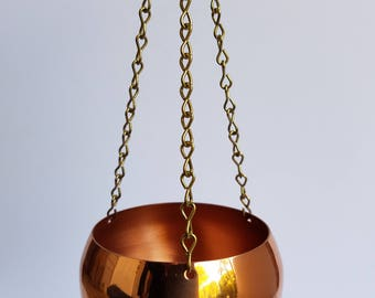 Coppercraft Guild Small Round Bowl Planter with Brass Chain