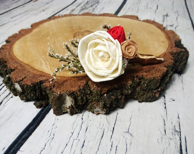 Ivory red caramel bronze wedding BOUTONNIERE sola Flowers dried limonium satin ribbon elegant vintage rose beauty and the beast