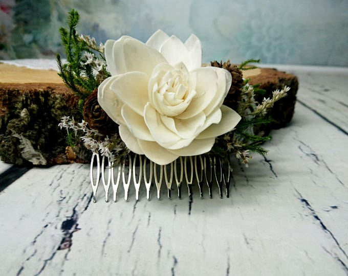 Green, brown and ivory woodland HAIR COMB, bridal accessory with natural greenery