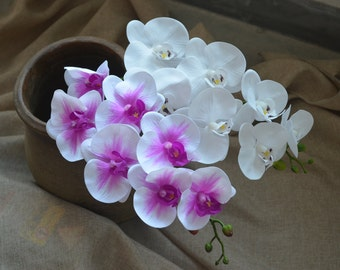 Real Touch Orchids Phalaenopsis White Purple True Touch Artificial Orchids For Silk Wedding Bouquets Wedding Centerpieces
