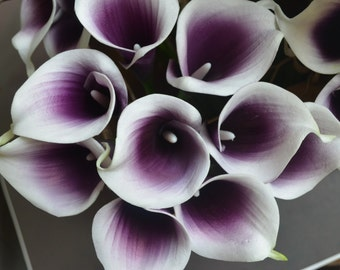 9 Purple Picasso Calla Lilies Real Touch Flowers For Silk Bridal Bouquets Bridesmaids Bouquets Wedding Table Centerpieces
