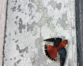 American Kestrel Necklace, Wildlife Jewelry, Bird of Prey, Kestrel Charm, Kestrel Pendant, Falconry Gift