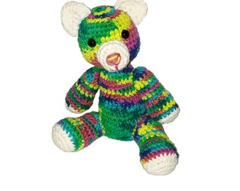 Rainbow Amigurumi Stuffed Teddy Bear