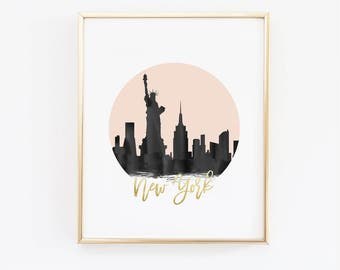 New York Print - New York Skyline - - Black and Pink - Faux Gold Foil - Art Poster - Skyline Prints - Skyline Watercolor - Custom Color