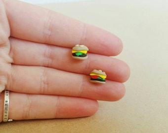 Hamburger Studs - Kawaii Food Polymer Clay Sterling Silver Earrings