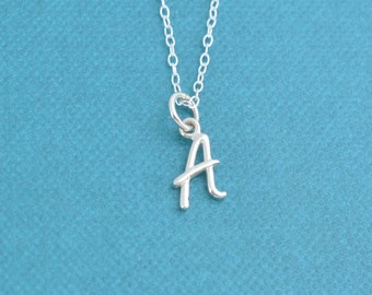 "Little girl's initial necklace in sterling silver on a 14"" sterling silver cable chain. Initial charms.  Initial jewelry.  Letter necklace."