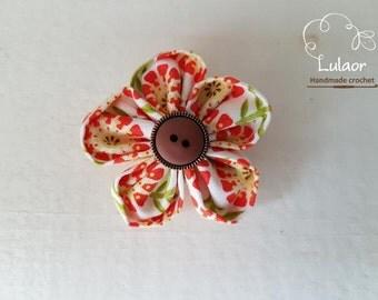 Fabric flower magnets ,Set of 5 Kanzashi flower magnets ,Refrigerator magnets