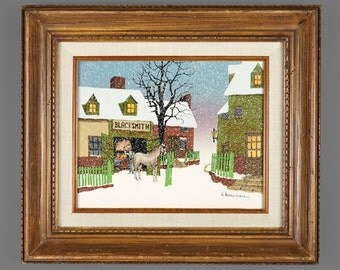 Vintage H. Hargrove Oil Painting Blacksmith Signed Art Folkart