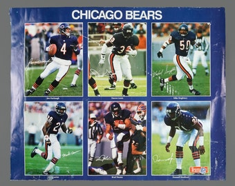 1990s Chicago Bears Team Poster NFL 16 x 20 Vintage Jim Harbaugh Darren Lewis Mike Singletary Mark Carrier Brad Muster Donnell Woolford
