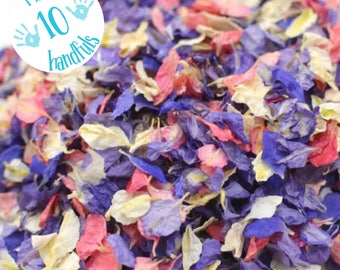 1 Litre approx 10 guests Natural Wedding Confetti Eco-Friendly Biodegradable Dried Delphinium Petals Very Berry, in Organza Bags