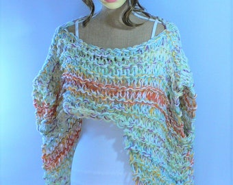 Loose Knit Sweater Asymetrical Top Festival Top Burning Man Clothing Rainbow Top Summer Tops Rainbow Sweater Bohemian Top Slash Neck