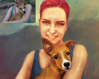 Custom digital portrait illustration with pet,realistic personalized digital drawing with accessories, colorful portrait from photo, gift