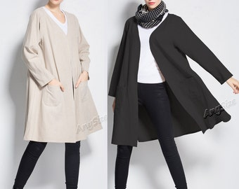 Anysize linen cardigan plus size clothing spring autumn clothing Y218