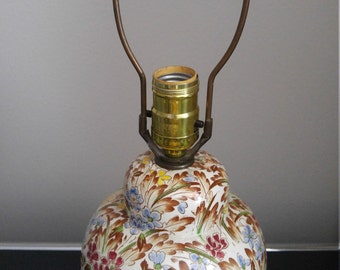 Floral chintz transfer pattern English urn lamp