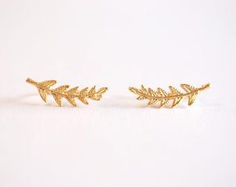 Matte Gold Leaf Ear Climber- Gold Leaf Ear Cuff, Leaf Earrings Ear Crawler, Gold Ear Climber, Ear Jacket, Leaves Ear Climber Crawler, Jacket