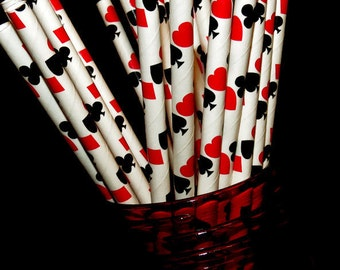 Alice in Wonderland straws, casino straws, poker night decorations, Onederland, card party, 10CT, queen of hearts, spades, clubs, card deck