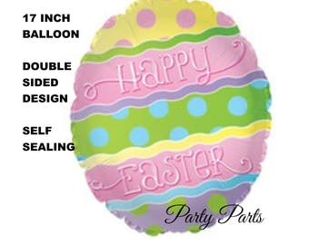 happy Easter balloon, Easter egg, spring party decorations, colored egg, decorated, polka dots, pastels, spring colors, pink, holidays