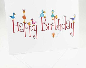 18 Cute Birds Birthday Cards - Blank Gift Birthday Cards - Boxed Set - 14305