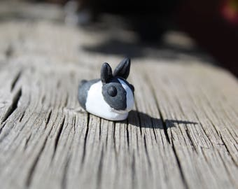 Cute Miniature Black Silver Dutch Bunny Rabbit Pet Sculpture