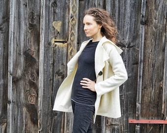 White-Wool-Jacket I Loden-Jacket I white-nature Wool-Coat I Trachten Coat I Austrian Loden