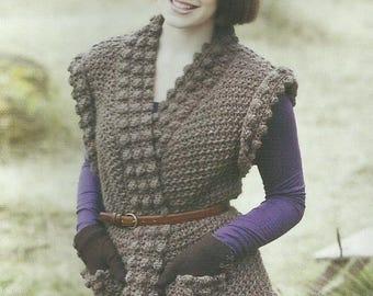 Crochet Chunky Sleeveless Cardigan PDF Crochet Pattern