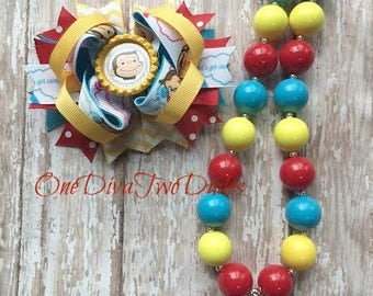 Curious George chunky necklace bow set