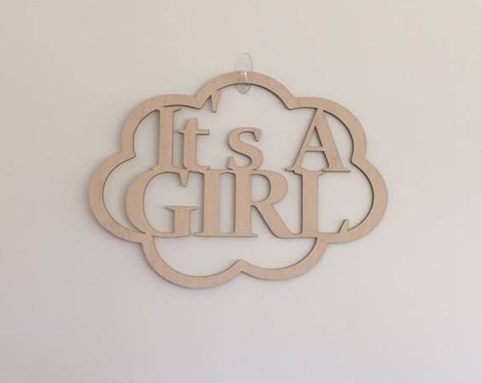 "24"" Wood It's A Girl Laser Cutout Pregnancy Birth Announcement Nursery New Baby Unfinished"