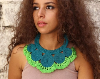 Turquoise and Green Crochet Tassel Necklace, Statement Crochet Necklace, Boho Statement Necklace, Green Statement Necklace