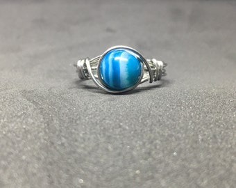 Blue Striped Agate Wire Wrapped Ring