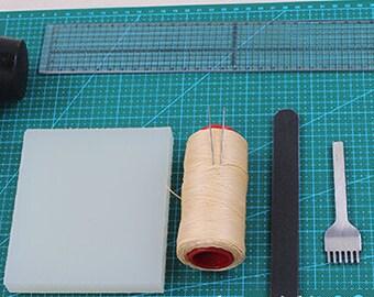 DIY Leather Working Making Craft Tools Kit Burnishing Set Cutting Sewing Board Beginner Essentials