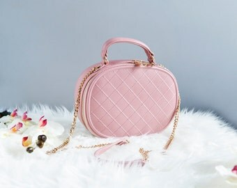 Pink Crossbody Bags, Vegan Leather Quilted Bag, Crossbody bags for women, Pink wedding purse