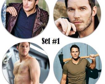 """Set of 4 Chris Pratt Large 2.25"""" Pinback Buttons or Magnets - Choose Your Favorite Set"""