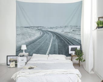 Winter Tapestry, Snowy Road, Iceland Print, Landscape Tapestry, Wall Hangings, Gray Tapestries, On The Road