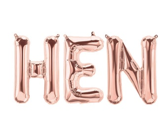 HEN Party Balloons - Hen Night Balloons - Rose Gold, Pink, Gold or Silver
